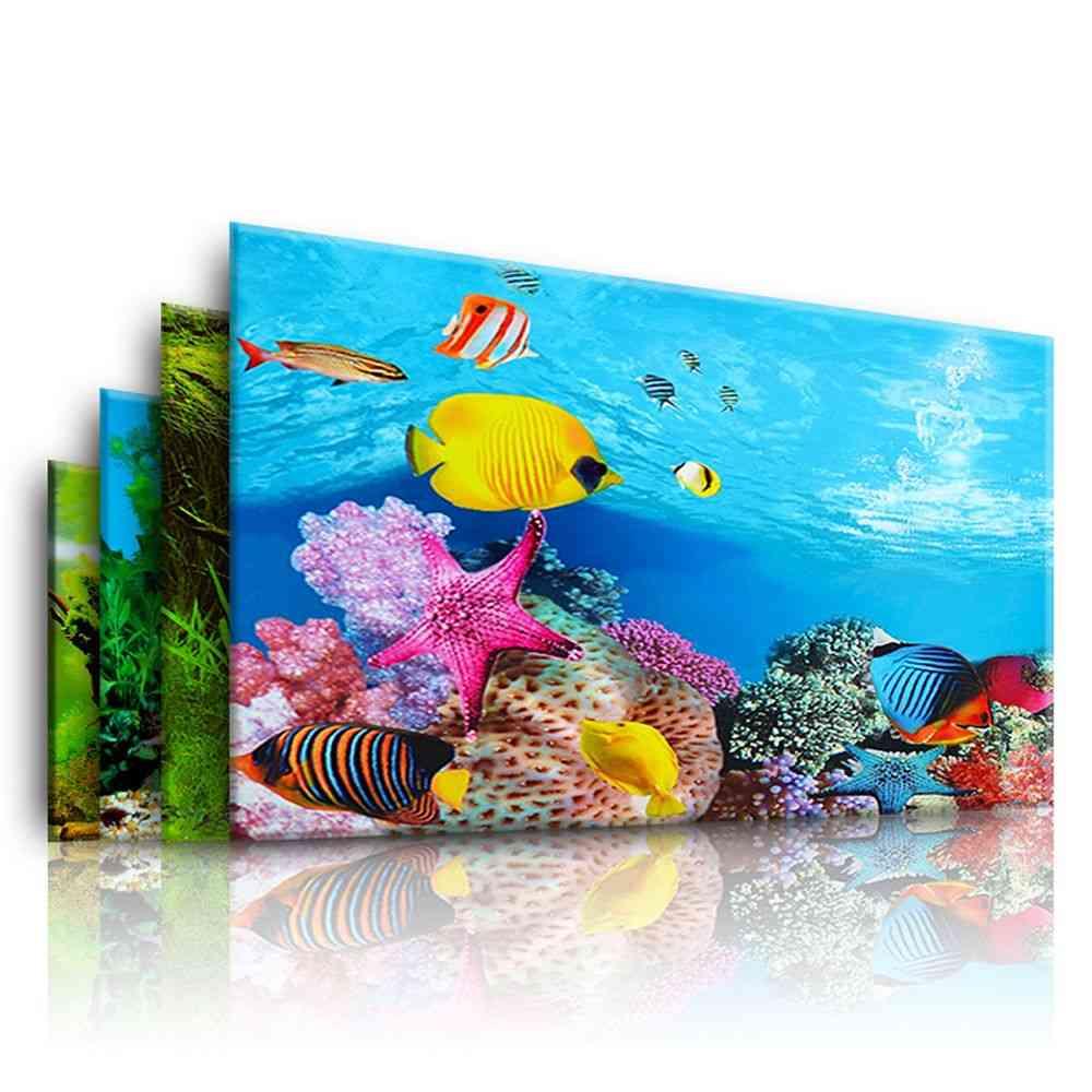 3d Background, Double-sided Landscape Sticker For Aquarium