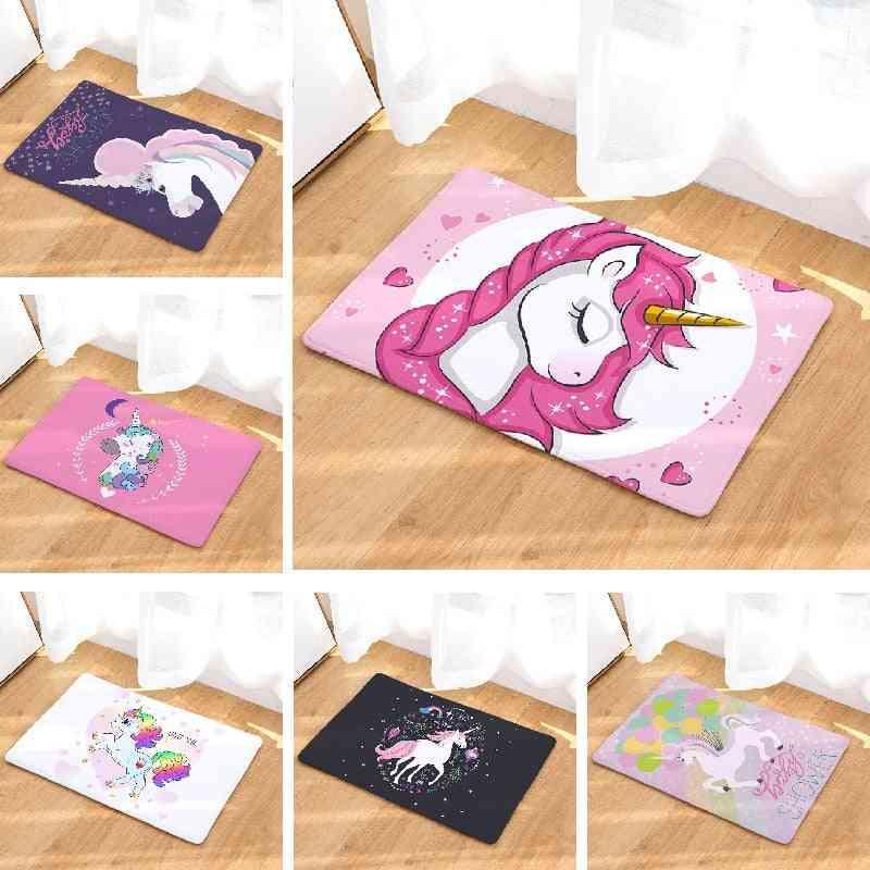 Unicorn Cartoon Printed Floor Mat, Rug For Home Bathroom Toilet Kitchen