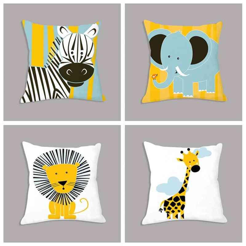 Cartoon Giraffe Lion Elephant Animal Printed White Plush Seat Cushion Pillow