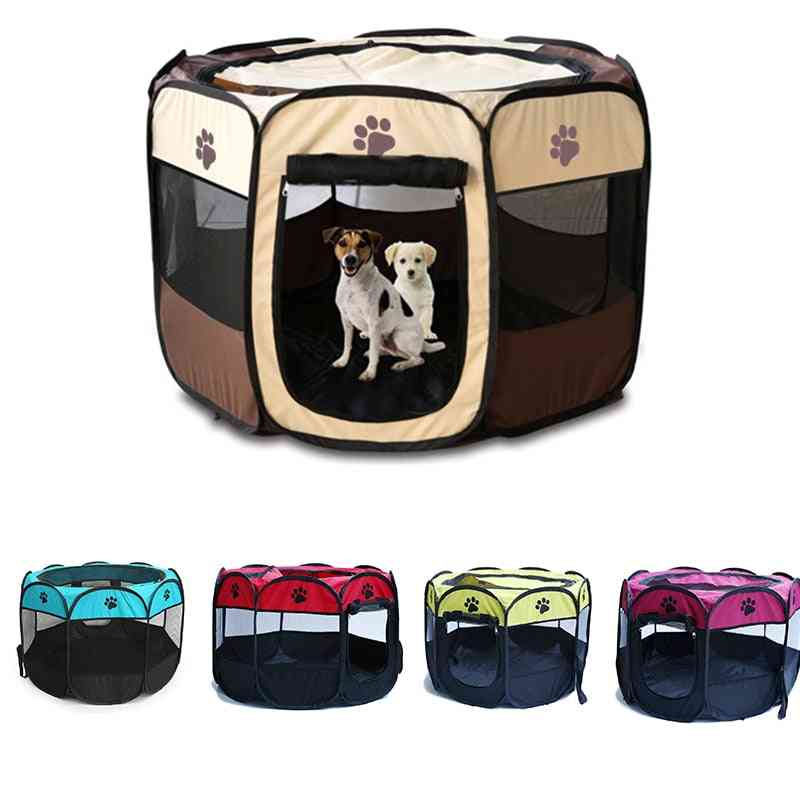 Dog Playpen Tent Crate Room Foldable Puppy Exercise Cat Cage Waterproof Outdoor Two Door Mesh Shade Cover Nest Kennel