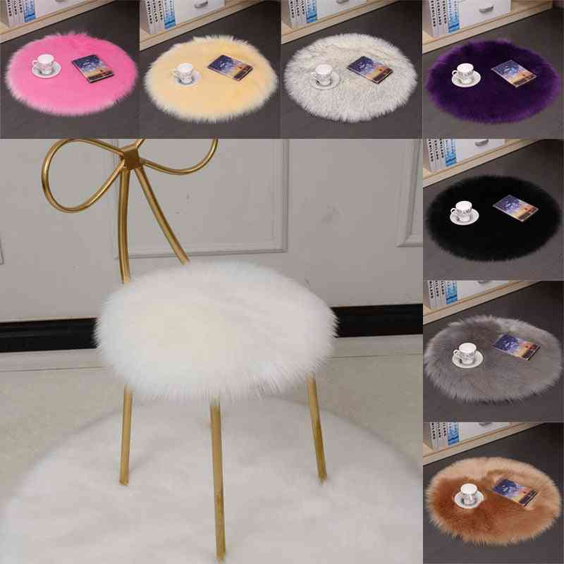 Solid Color Warm Wool Round Cushion Stool Pad, Thickening Dining Chair Seat Mat