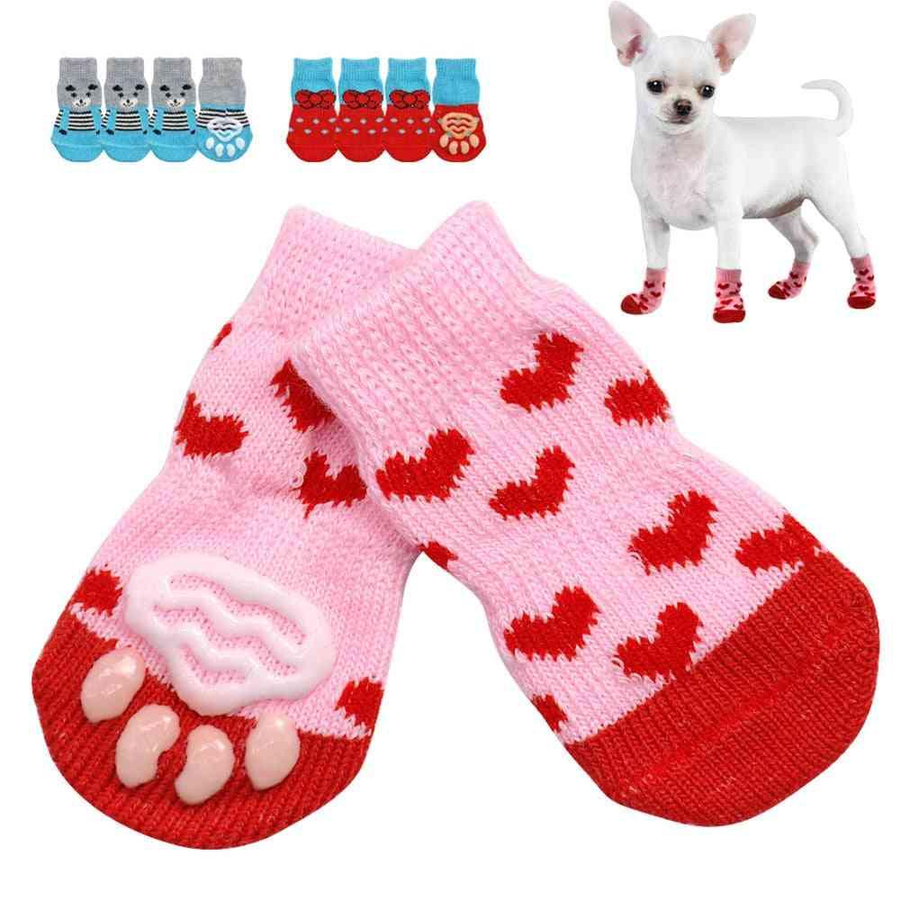 Cute Pet Knit Socks Slip-on Paw Protector 4pcs - Cat/small Dogs Cotton Anti Slip Socks For Autumn, Winter Indoor Wear