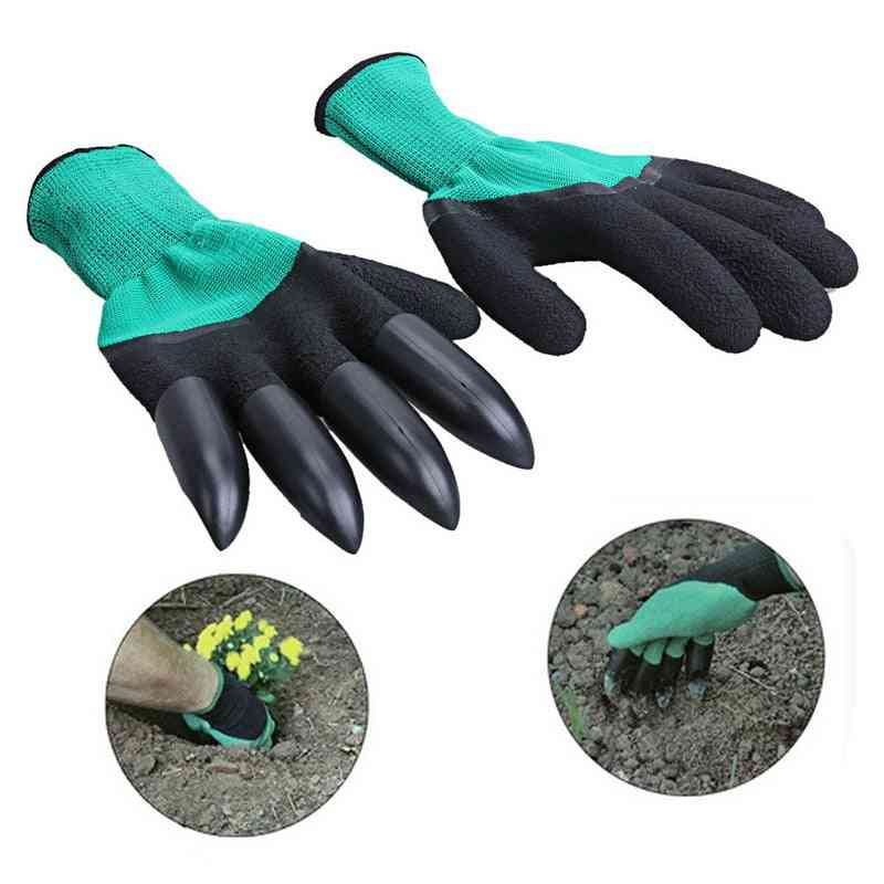 Durable And Waterproof  Rubber Gloves With Claws For Garden, Digging And Planting