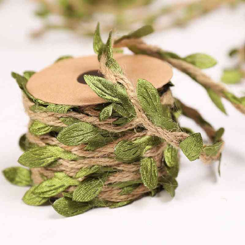 Simulation Green Leaves Weaving Hemp Rope For Wedding Birthday Decoration
