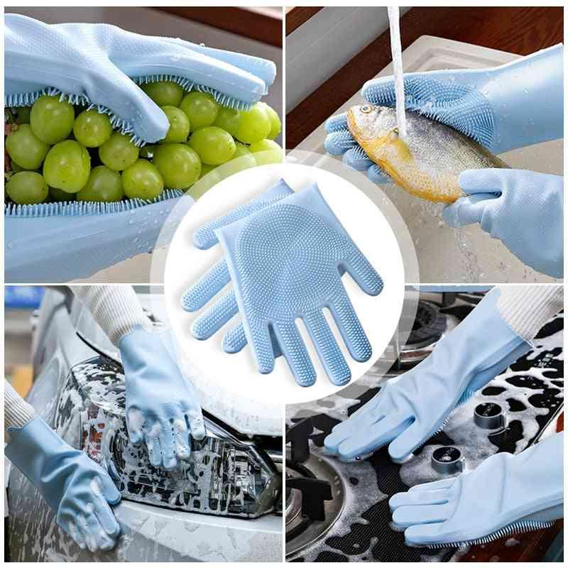 Magic Food Grade Silicone Dishwashing Scrubber - Rubber Scrub Gloves