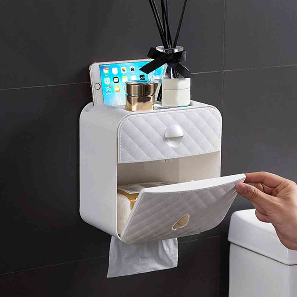 Waterproof, Wall Mounted Toilet Paper Roll Box With Drawer