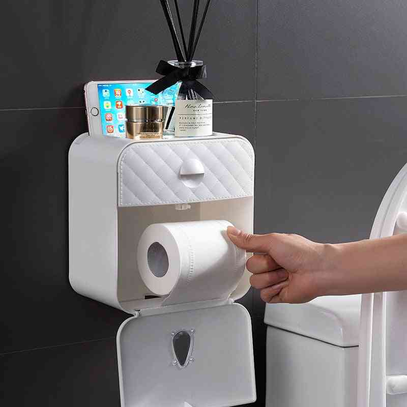 Home Bathroom Abs Double Paper Outlet Waterproof Tissue Storage Box - Wall Mounted Roll Paper Dispenser