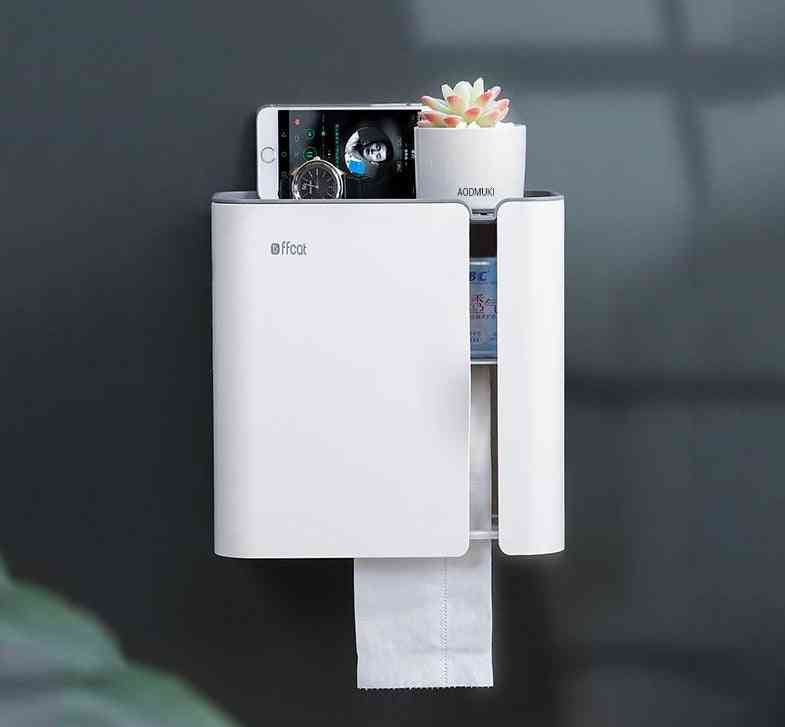 Nordic Style, Punch Free, Waterproof And Wall Mount Toilet Paper Holder And Shelf