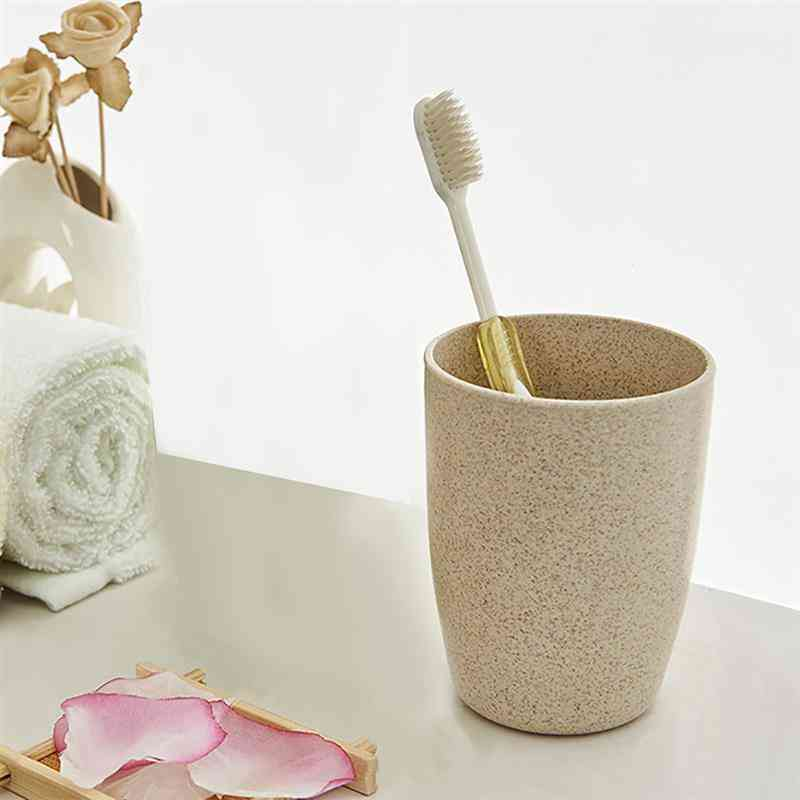 Fashionable Wheat Straw Portable Large Bathroom Tumbler Water Cup - Traveling Drinking Utensils