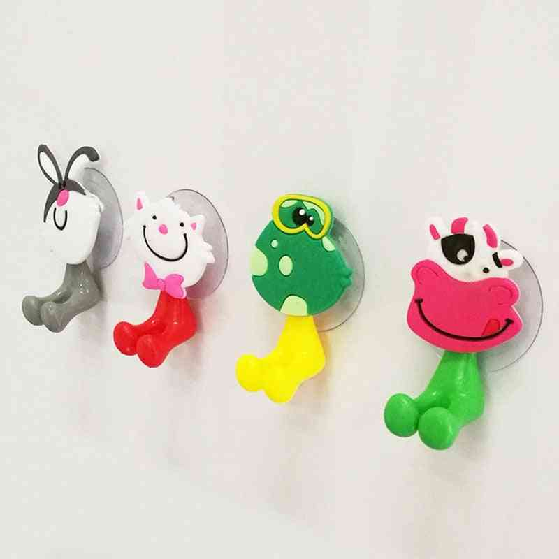 Cute Cartoon Wall Mounted Suction Cup Antibacterial Toothbrush Holder Hooks
