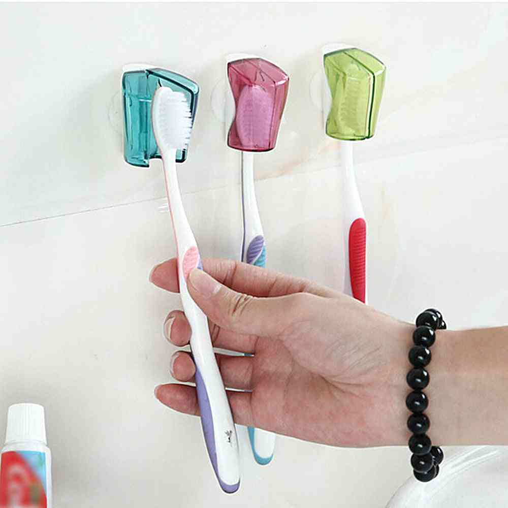 Suction Cup Toothbrush Holder 3pcs - Toothbrush Cover Storage Wall Mount Rack