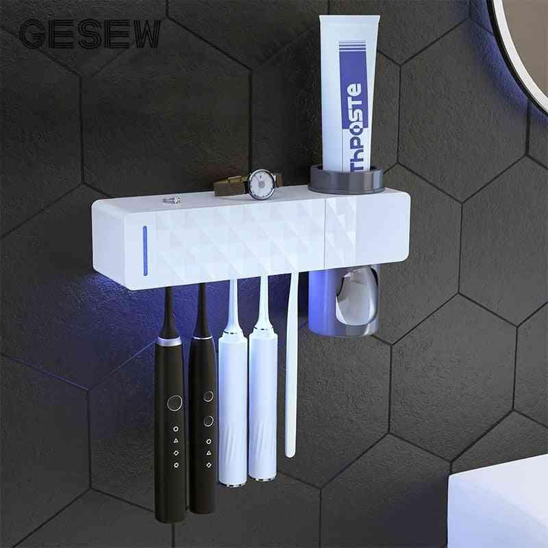3 In 1-uv Sterlizer, Toothbrush Holder And Toothpaste Dispenser