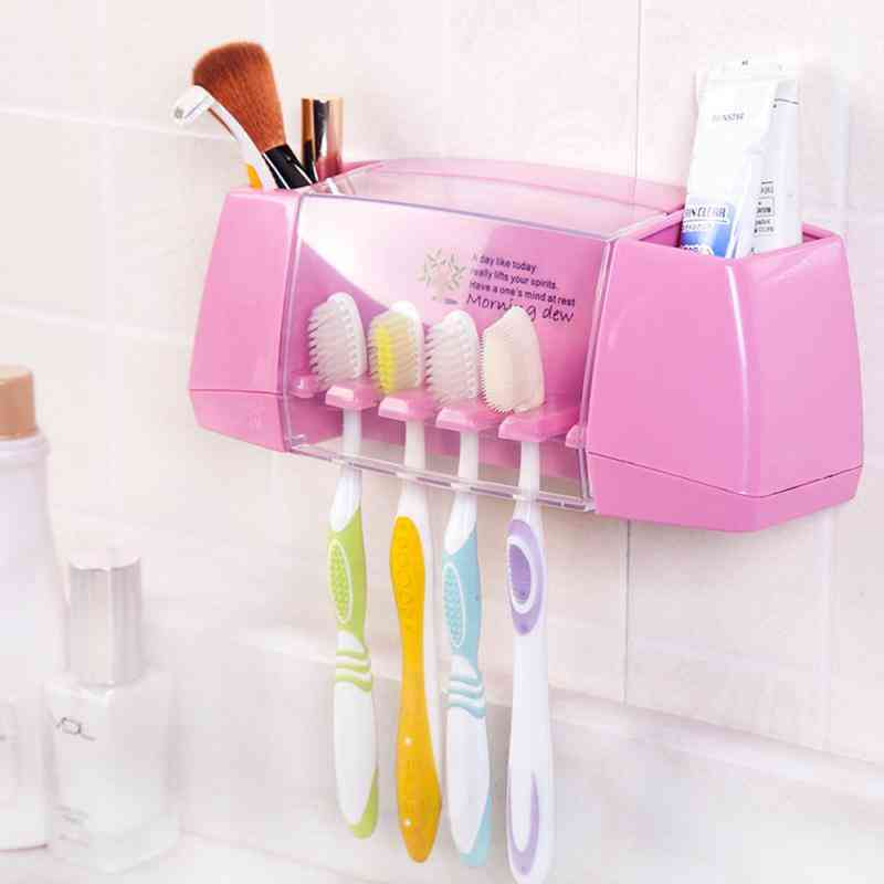 Eco-friendly, Plastic Toothbrush Holder With Toothpaste And Shaver Storage Rack
