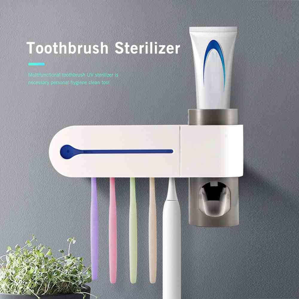 3 In 1 Function Uv Toothbrush Sterilizer Toothbrush Holder - Automatic Toothpaste Squeezers Dispenser Home Bathroom Set