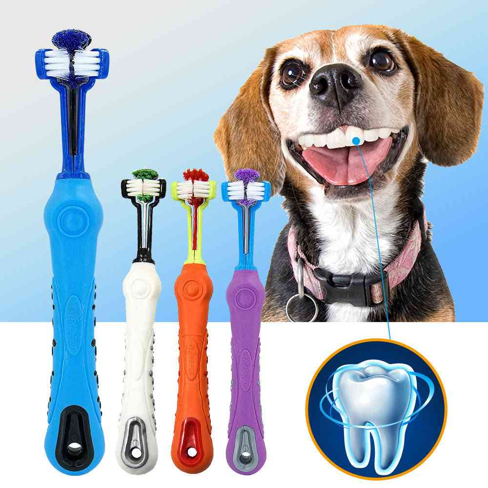 Dog Toothbrush Withthree Sided, Bad Breath Tartar Teeth Tool