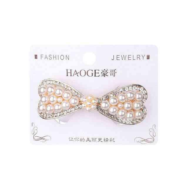 Cute Pearl Hair Clip, Fashion Crystal Barrettes