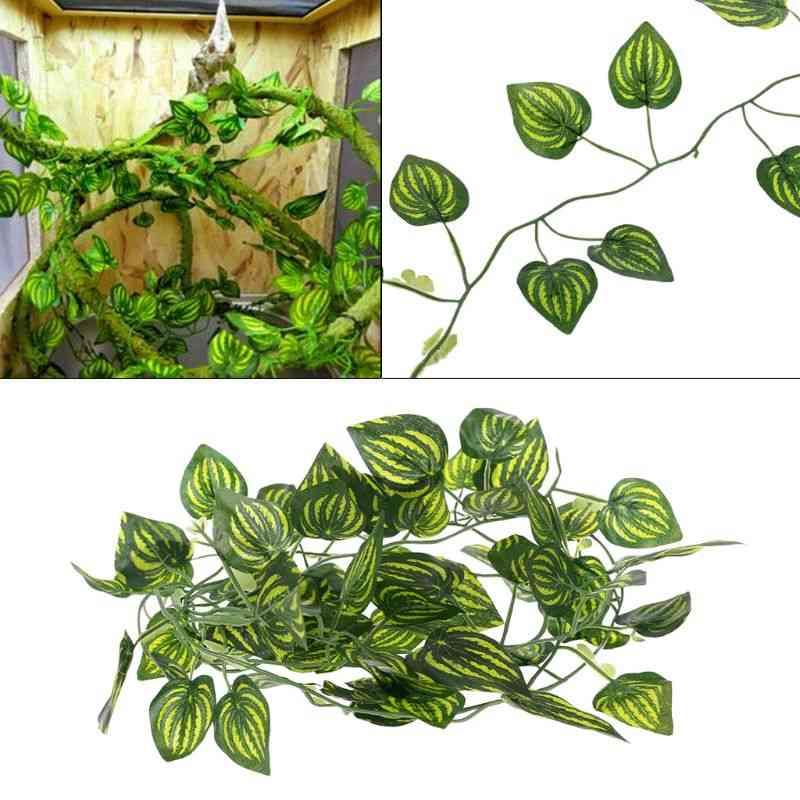 Artificial Plants, Vine Leaves For Reptile Terrarium Decoration, Climb And Rest