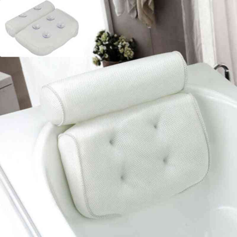 Neck And Back Support 3d Mesh Spa Bath Pillow With Suction Cups