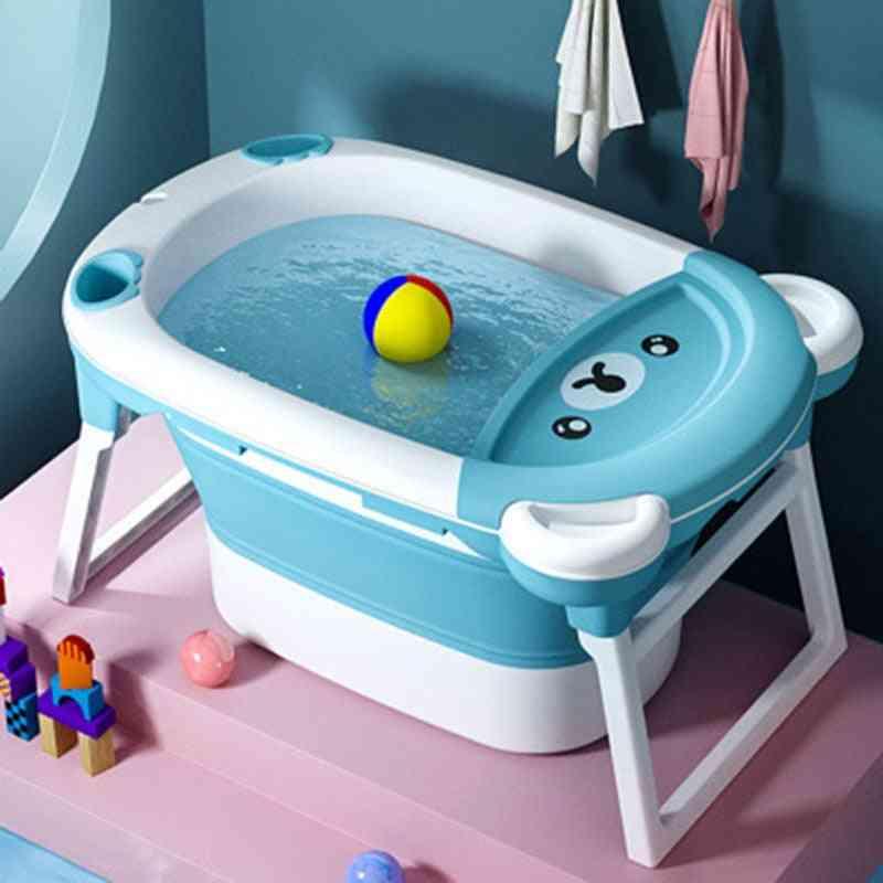 Children's Bathing Bucket Folding Tub - Home Baby Bath Tub Can Sit And Lie Cute Bear
