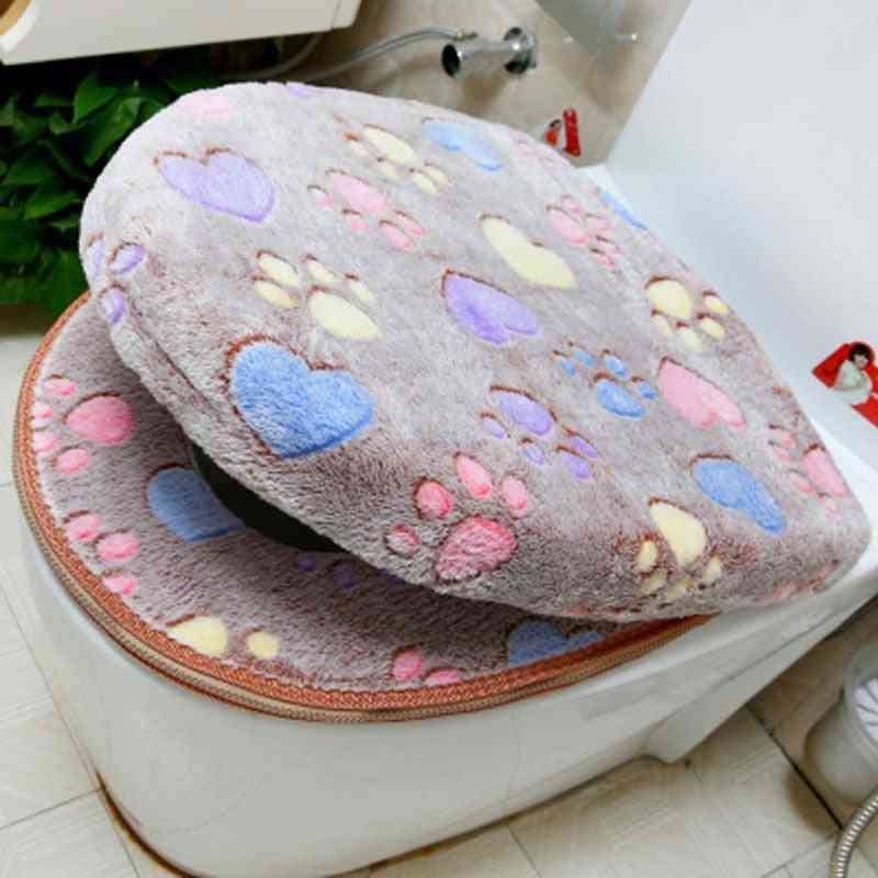 Thick Coral Velvet Luxury Toilet Seat Cover Set Soft Warm Zipper One / Two Piece Toilet Case Waterproof Bathroom Wc Cover