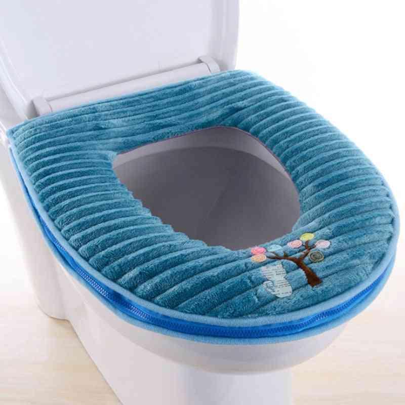 Super Soft Plush Pu Waterproof Thick Warm Zipper Stripe Decal Toilet Seat toilet Seat Covers
