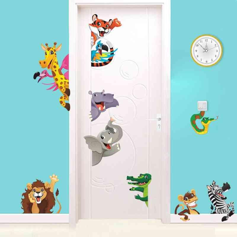 3d Cartoon Animals Door Stickers Room, Bedroom Home Decoration & Safari Wall With Lion, Elephant, Zebra Mural Art