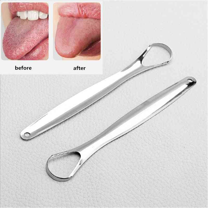 Stainless Steel Tongue Scraper - Oral Mouth Brush Reusable Tongue Cleaner