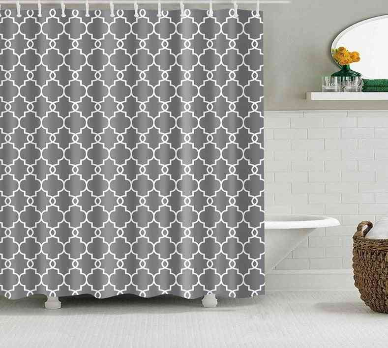 Waterproof, Polyester Fabric Shower Curtains-geometric Pattern
