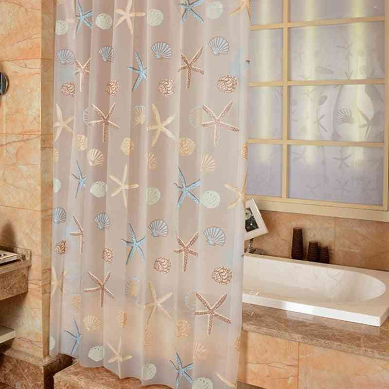 Modern Shower Curtain Starfish Partition Fresh Seaside Style Waterproof Mildew Peva Curtain For Bathroom Shower Room