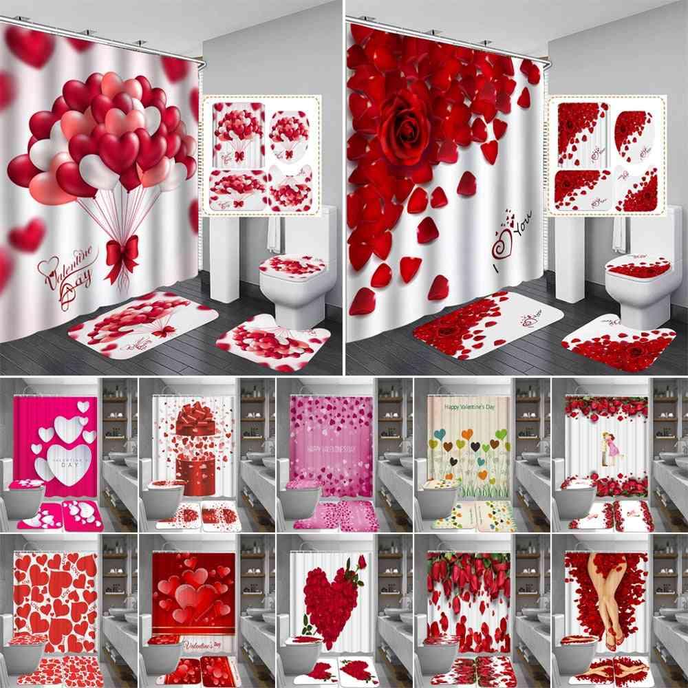 Happy Valentines Day Shower Curtains Bathroom Curtain Rose Petal Love Bath Sets Toilet Cover Mat Non-slip Washroom Rug Set