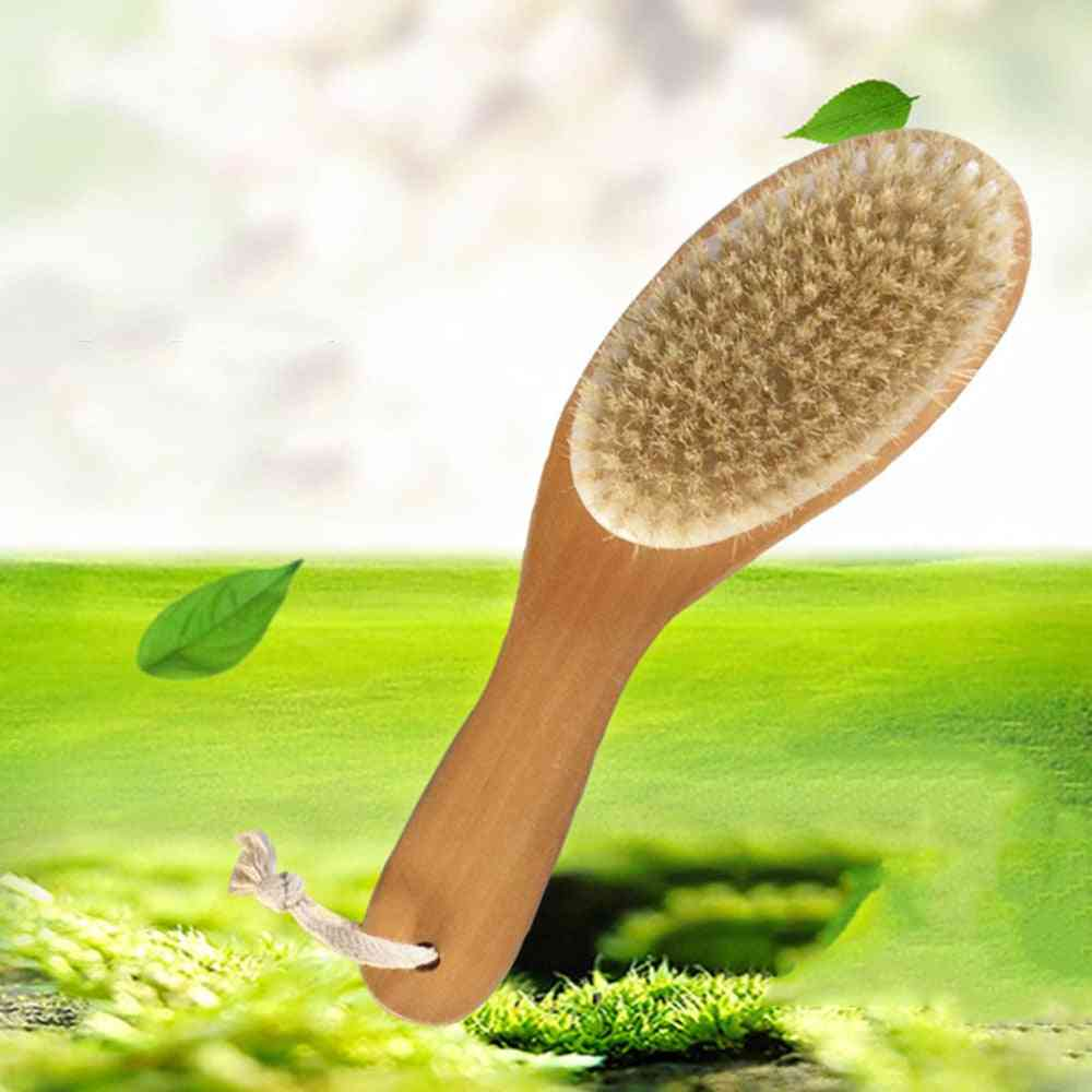 Natural Bristle Soft Body Brush With A Long Handle, Massager For Back