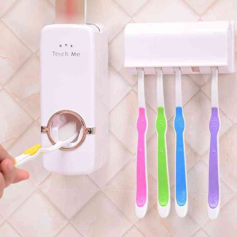 Wall Mount, Automatic Toothpaste Squeezer And Toothbrush Holder Set