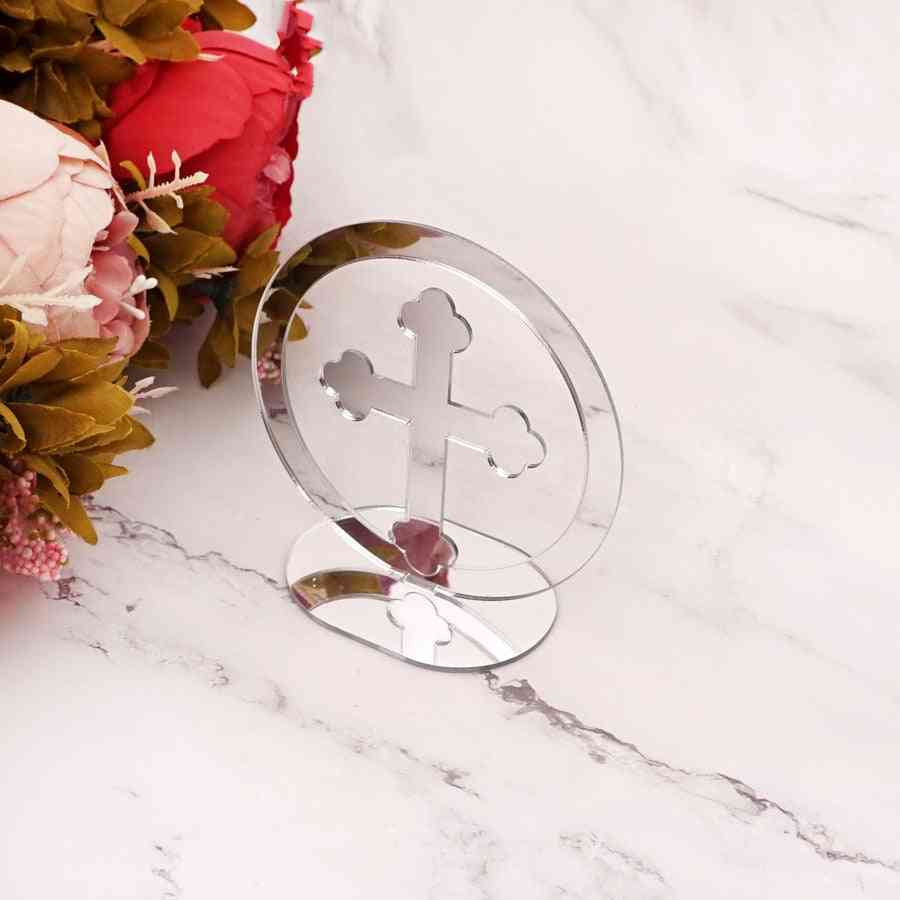 Acrylic Mirror Circle Cross Table Standing Home Decor For Christening & Baptism House Moving