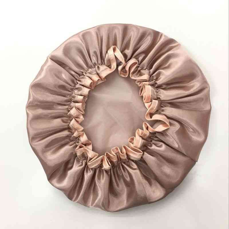 Lovely Thick Women Shower Satin Hats Lawful Bath Shower Caps, Hair Double Waterproof Bathing Cap Bathroom Accessories