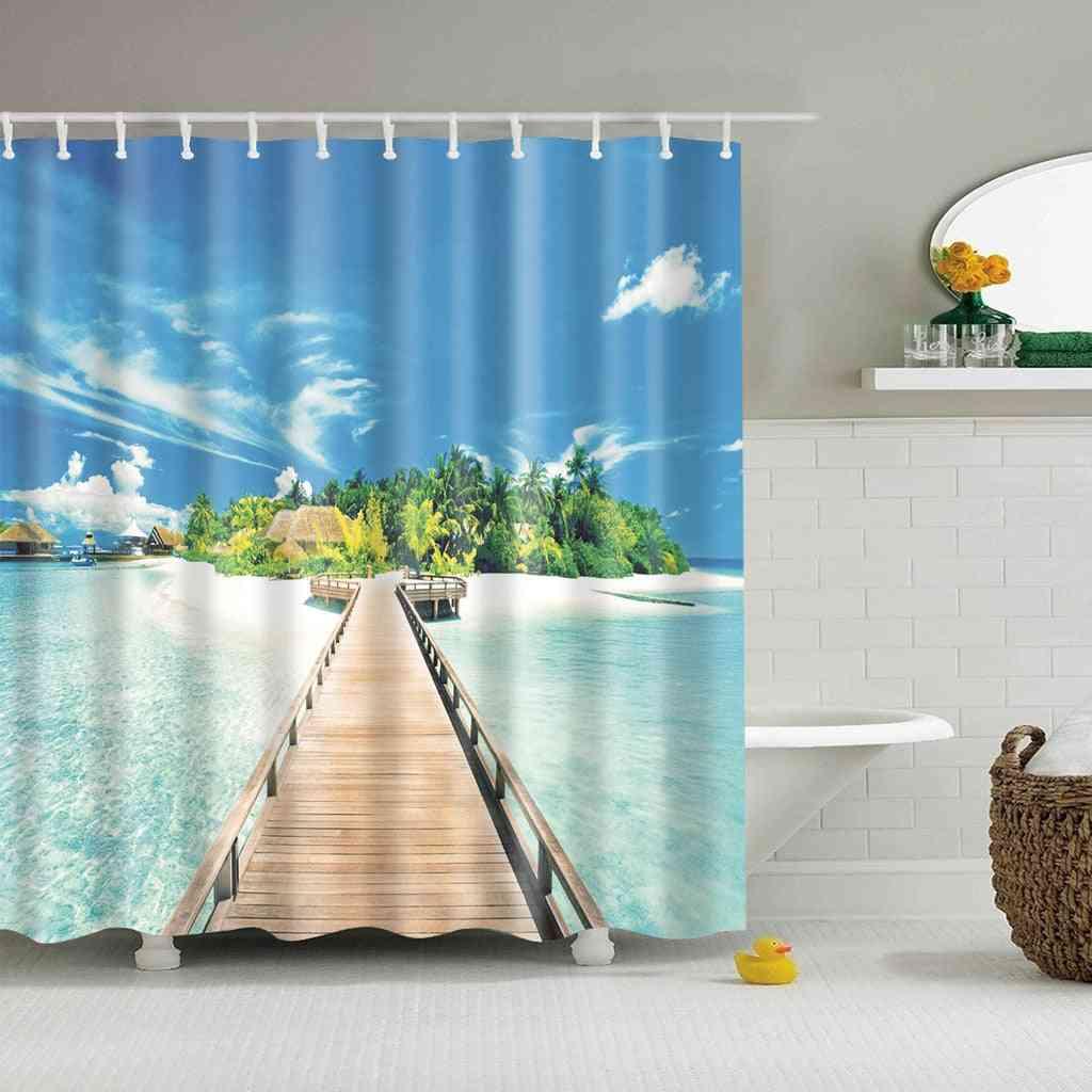 Modern, Sea Beach Scenery Printed-3d Shower Curtain