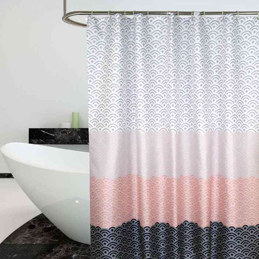 Nordic Shower Curtain Geometric Color Block Bath Curtains Bathroom For Bathtub Bathing Cover Extra Large Wide