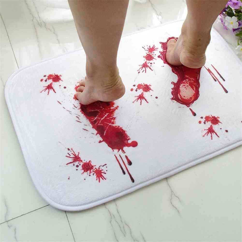 Bath Mat Scare Your Friends Bloody Footprint Bath Mat - Non Slip Bathroom Rug For Home Kitchen Door