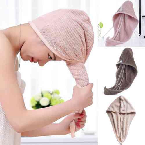 Ultra-absorbent, Microfiber, Coral Fleece-hair Wrap Cap