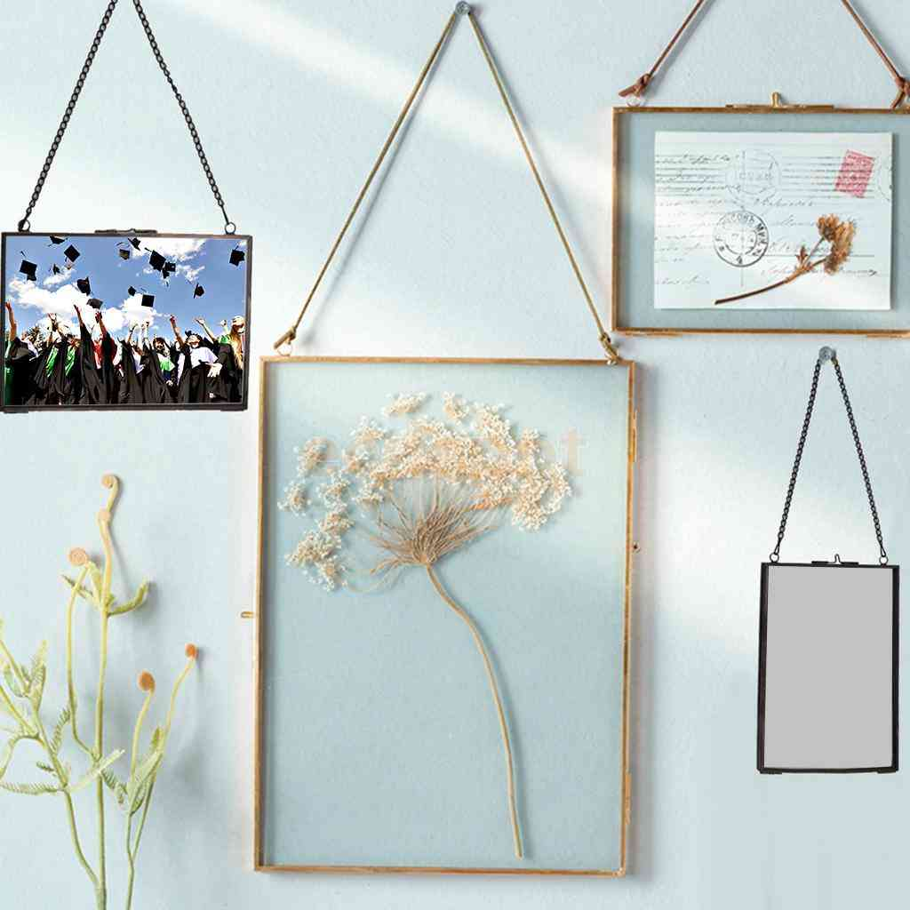 Industrial Style Double Sided Glass Hanging Wall Photo Frame - Flower Plant Specimen Portrait Display Frame Holder