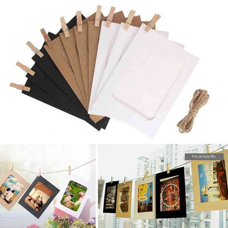 Rectangle, Wooden Photo Frame And Paper/picture Clip