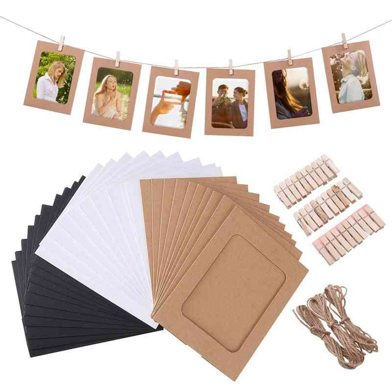 10pcs Combination Diy Kraft Paper Picture Frame With Clips Hanging Wall Photos