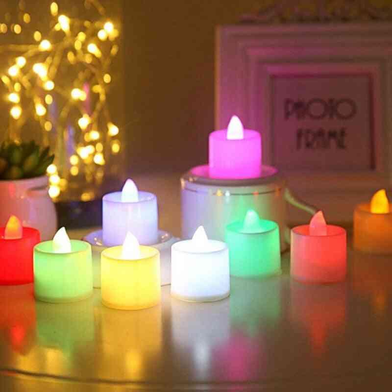 Creative Led Multicolor Candle Lamp Simulation Color Flame Tea Light Home, Wedding, Birthday Decoration