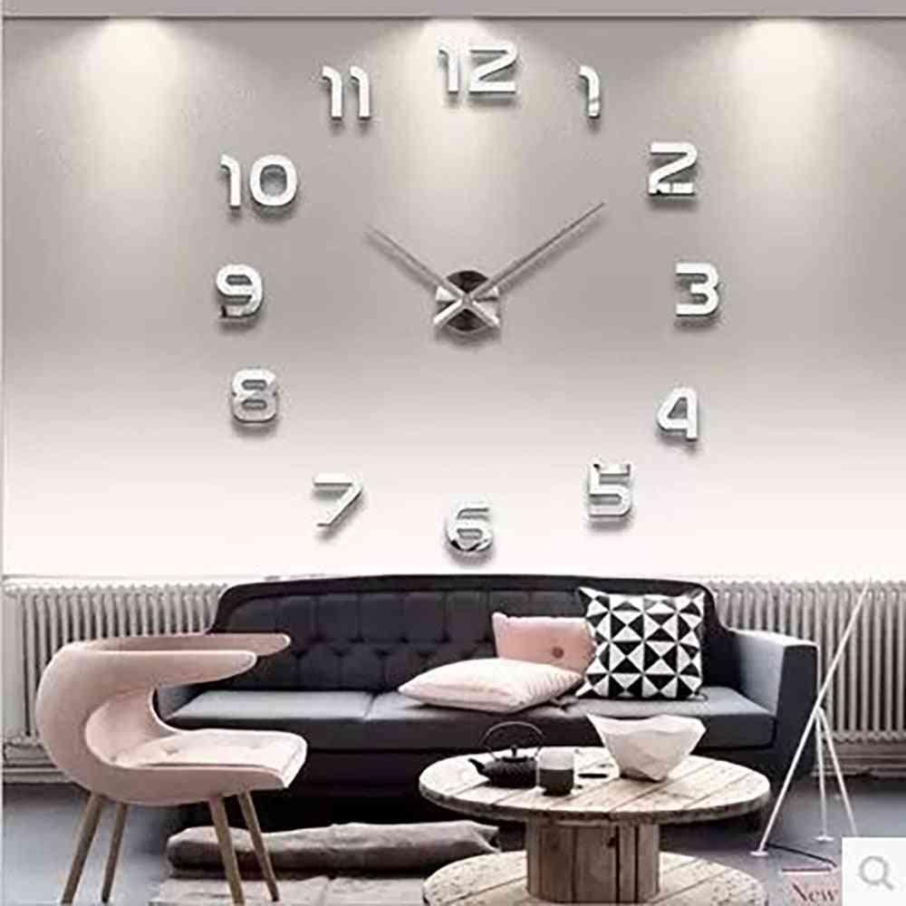 3d Luminous Diy Big Wall Clock, Rushed Mirror Sticker