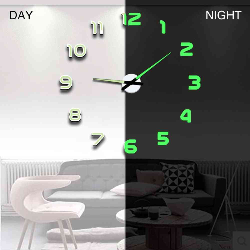 Modern Design Digital Large 3d Diy Home Decor Luminous Mirror Wall Clock Sticker