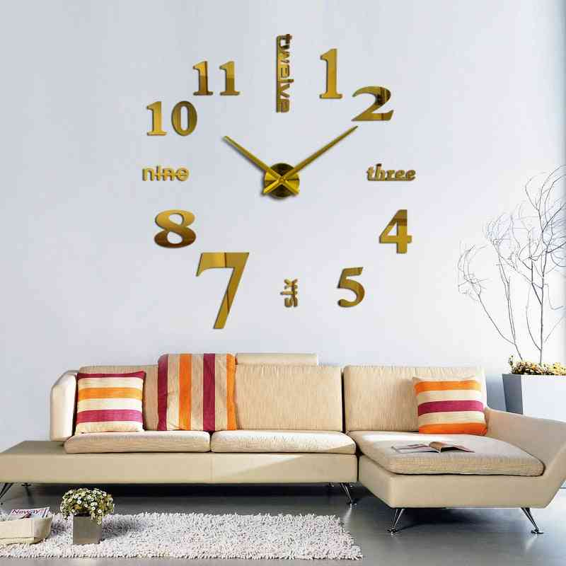 Europe 3d Big Quartz Still Life Wall Clock Living Room Home Decoration Stickers