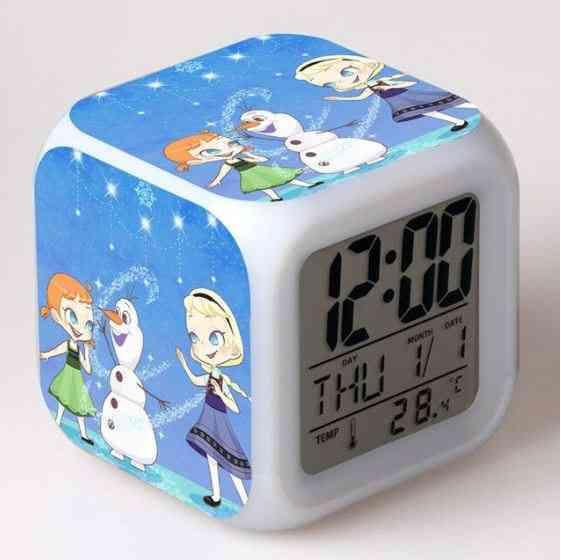 Frozen Elsa Queen, Princess Anna Led Mood Square Rechargeable Clock