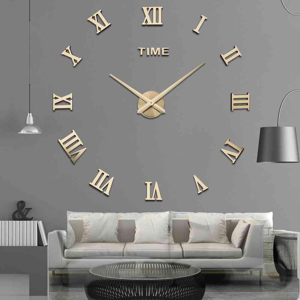3d Big Acrylic Mirror Wall Clock - Diy Quartz Watch Still Life Clocks Modern Home Decoration, Living Room Stickers