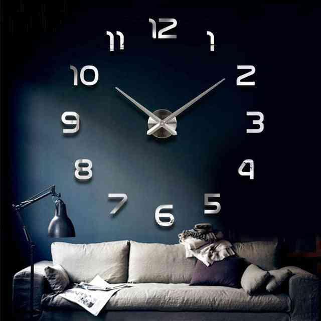 Fashion 3d Big Size Wall Clock Mirror Sticker Diy Brief Living Room, Meeting Room Decor