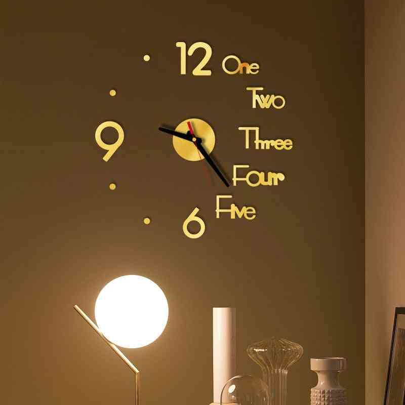 Diy Digital Wall Clock 3d Mirror Surface Sticker Silent Clock Home Office Decor