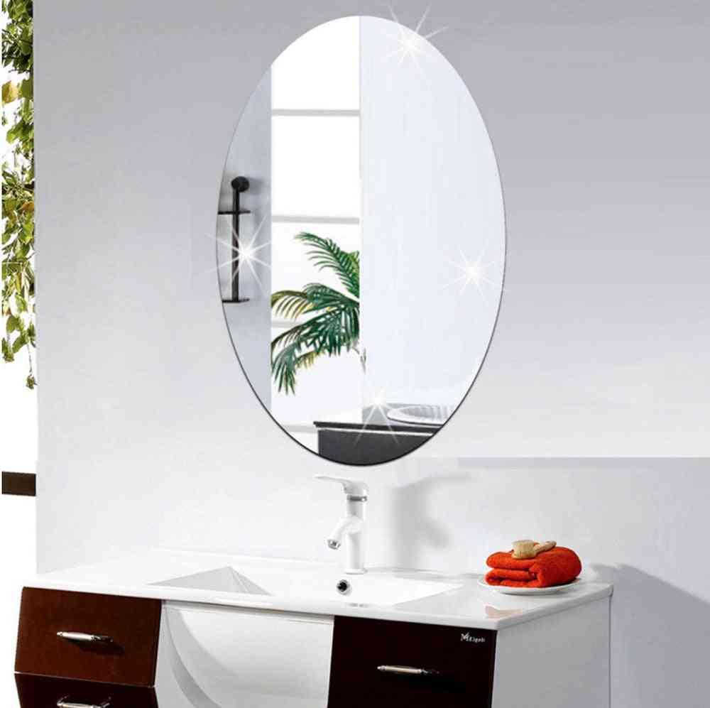 Mirror Wall Sticker Personality Art Decor Mirror Oval Self Adhesive For Room, Bathroom Decor Stick
